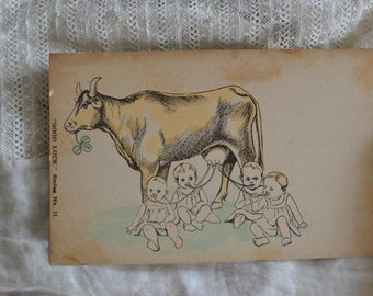 Good Luck Postcard with Cow, Babies and Clover
