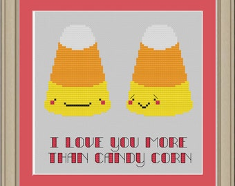 I love you more than candy corn: cute Halloween cross-stitch pattern