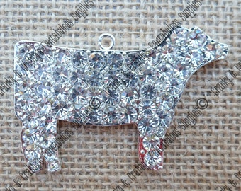 Rhinestone Cow Pendant - 40mm X 60mm apprx - livestock  - Chunky Necklace Pendant Only