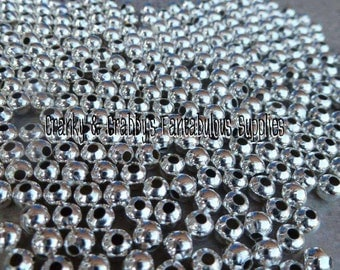 4mm or 5mm Metal Alloy Silver Spacer Beads  -  Chunky Necklaces - 2 ounces