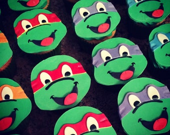 12 Fondant TMNT Cupcake Toppers