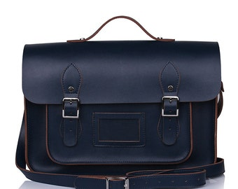 Large Wooster British Handmade Leather Satchel with Top Handle - Navy Blue