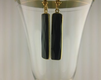 Dramatic Black Onyx Stick and Gold Earrings.