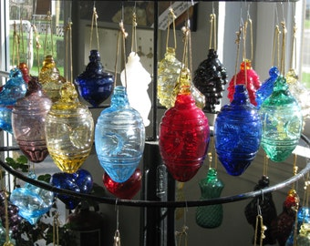 Mold Blown Glass Heavy Indent ornament