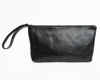 Black leather clutch - soft leather purse SALE wristlet purse - leather wallet - zipper purse women's clutch - evening purse