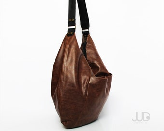 Brown leather hobo bag - soft leather purse SALE brown leather bag - leather tote bag - crossbody bag - oversize leather bag