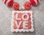 Love Clay with Gumball and Bling Beads Necklace