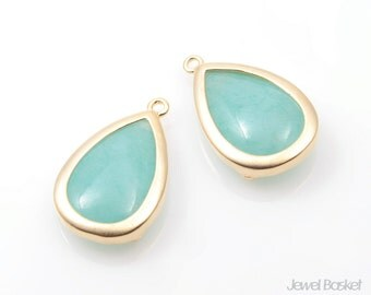 Mint Synthetic Stone and Matte Gold Framed Teardrop Pendent / 13.5mm x 22mm / SMTMG065-P (2pcs)