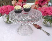 Vintage Glass Cake Stand Pedestal Fostoria American Clear Crystal Glass Cake Plate with Rum Well -  Wedding Cake Stand