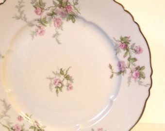 """Haviland Limoges Dinner Plate Fine China Porcelain with Pink Roses Greenery and Gold Trim """"Sylvia"""" France  Shabby Cottage Chic - 5 Available"""