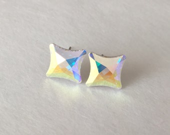 Aurora Borealis Starlet Studs Swarovski Crystal Earrings Surgical Steel Posts Stud Crystals