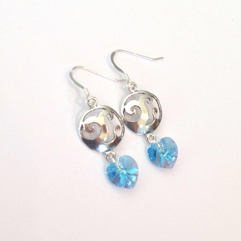 Ocean Wave Sterling Silver And Swarovski Crystal Earrings. Handmade Flower Earrings. Wirework Earrings. Navy Dress Earrings. Large Hoop Earrings. Earlobe Earrings. Mehndi Earrings. Cone Shaped Gold Earrings. Trillion Earrings