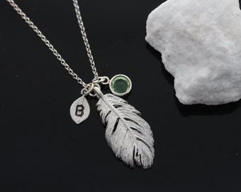 Personalized Feather necklace, Initial and Birthstone, Silver Feather necklace, Feather necklace Jewelry