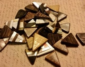 More than 35 Shell, Stone, and Wooden Beads.  Triangles.  Inlay Tropical  Coastal Beachy