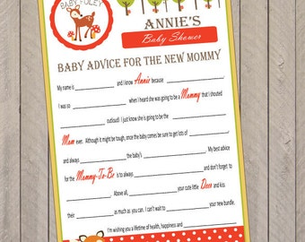 Little Red Riding Hood Woodland Animal Birthday Wedding or Baby Shower Mad Libs Party Game (pdf file)