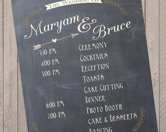 Custom Wedding Program Event Schedule Chalkprint Program Sign- Wedding Party Sign (PDF file)