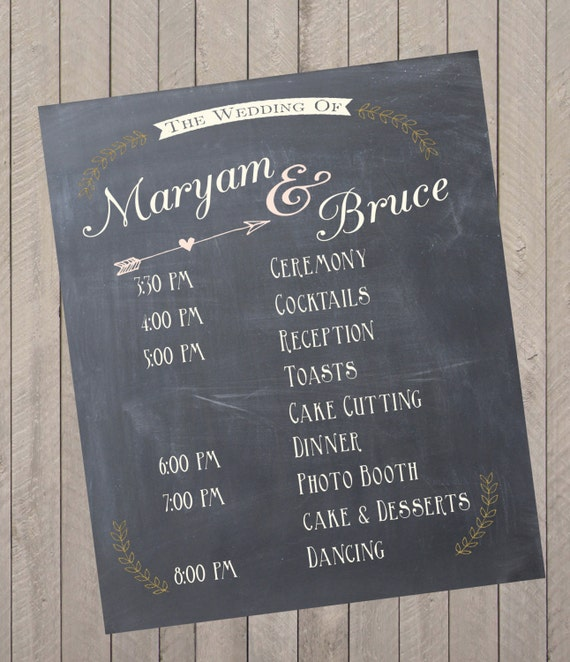 Custom Wedding Program Event Schedule Chalkprint Sign