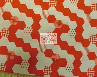"Hexies Red By Michael Miller 100% Cotton Fabric - 45"" Width Sold By The Yard (FH-990)"