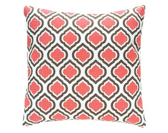 Pillow Covers . Accent Pillows. Decorative Pillows .One  18 X 18 Throw Pillow Covers .Coral and Brown Pillow Covers .