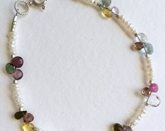 Gorgeous Multi Gem and Pearl Bracelet by KarenWhalenDesigns
