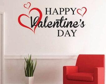 Happy Valentine's Day Decal, Valentine's Wall Decal, valentines decals, valentine wall stickers, love wall murals, valentine window art, g52