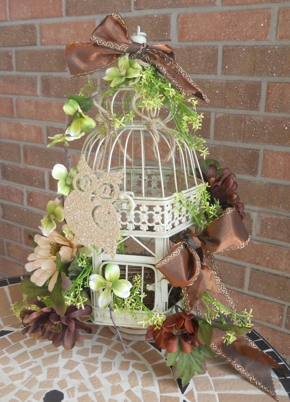 Items similar to antique cream bird cage centerpiece