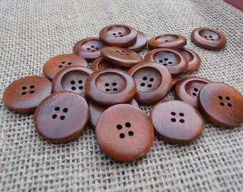 10 Wooden Buttons - Dark