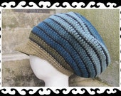 Dread Tam olive blue stripes lined with brim Size L