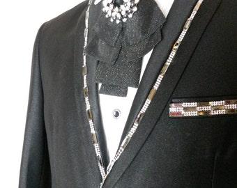 Groom  crystal black pearls satin bow tie, wedding bow tie, crystal bow tie