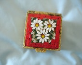 Vintage Italian Red Mosaic Millefiori Glass Pill/Ring/Trinkets Collectible Mosaic Box