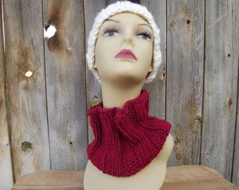 Ribbed Hand Knit Cowl in Raspberry Red-Womens-Scoodie-Scarf