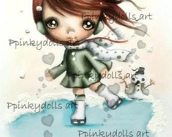 INSTANT DOWNLOAD Digital Digi Stamps..by Chrishanthi's art,Playing with the snow''