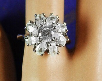 Vintage Faux Diamond Cocktail Ring promise Wedding  Engagement womens ladies jewelry size 7 1/4 white topaz