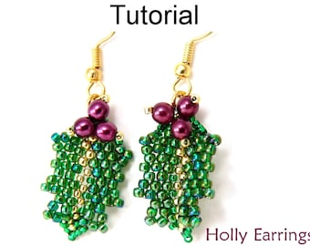 Beading Tutorial Pattern Earrings - Christmas Holiday Jewelry - Holly Earrings #10001