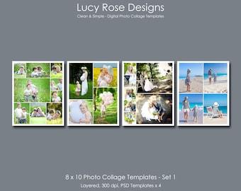 8 x 10 Photo Collage Templates - Set 1