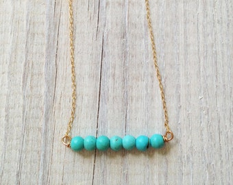 Turquoise necklace, gold necklace, silver turquoise and gold, bridesmaid jewelry, bridal pendant, best friend necklace, 14k gold necklace