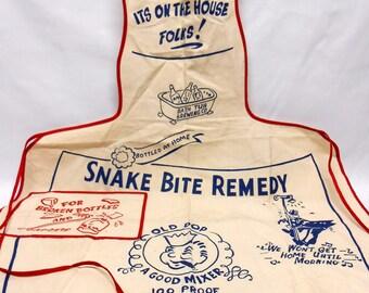 Vintage Apron Snake Bite Remedy OLD POP A Good Mixer 100 Proof