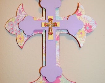 """Finished Cross Layered Wooden Decorative Wall Crosses 11"""" Inch Tall #FC11"""