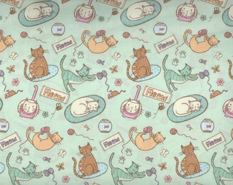 MEOW fabric - cats playing and sleeping - by the continuous YARD