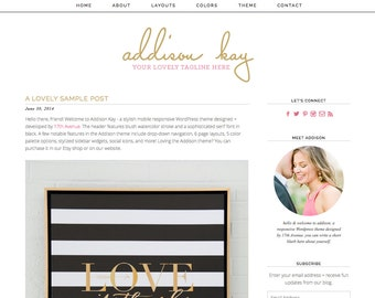 "Wordpress Theme Premade Blog Template Design - ""Addison Kay"" Instant Digital Download"