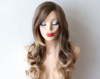 Brown / Dirty blonde/ Ash blonde Ombre wig. Long curly hair long side bangs wig for daytime use or Cosplay
