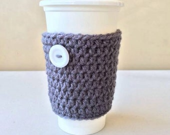 Coffee Cozy, Crochet Coffee Cozy, Gray Coffee Cozy, Grey Cozy, Cozies, Coffee, Cup Cozy, Button, Charcoal cup cozy, Character Coffee Cozy
