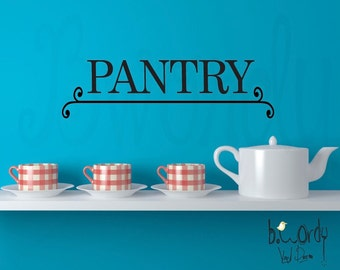Pantry Lettering and Scroll... Vinyl Decal- Kitchen Decor, Pantry Door