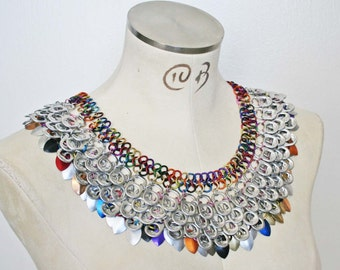 Rainbow color scale maille Cleo collar. Pop tab, recycled reclaimed art.