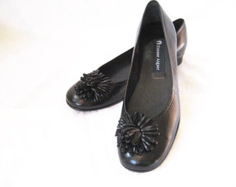 Black leather loafers, Etienne Aigner shoes, decorative leather loafers, pom pom, size 7.5 narrow