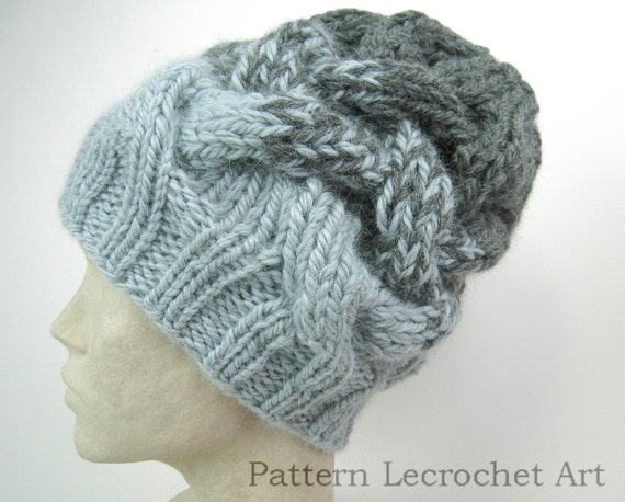Knitting Pattern Slouchy Hat with braid cable in two strands