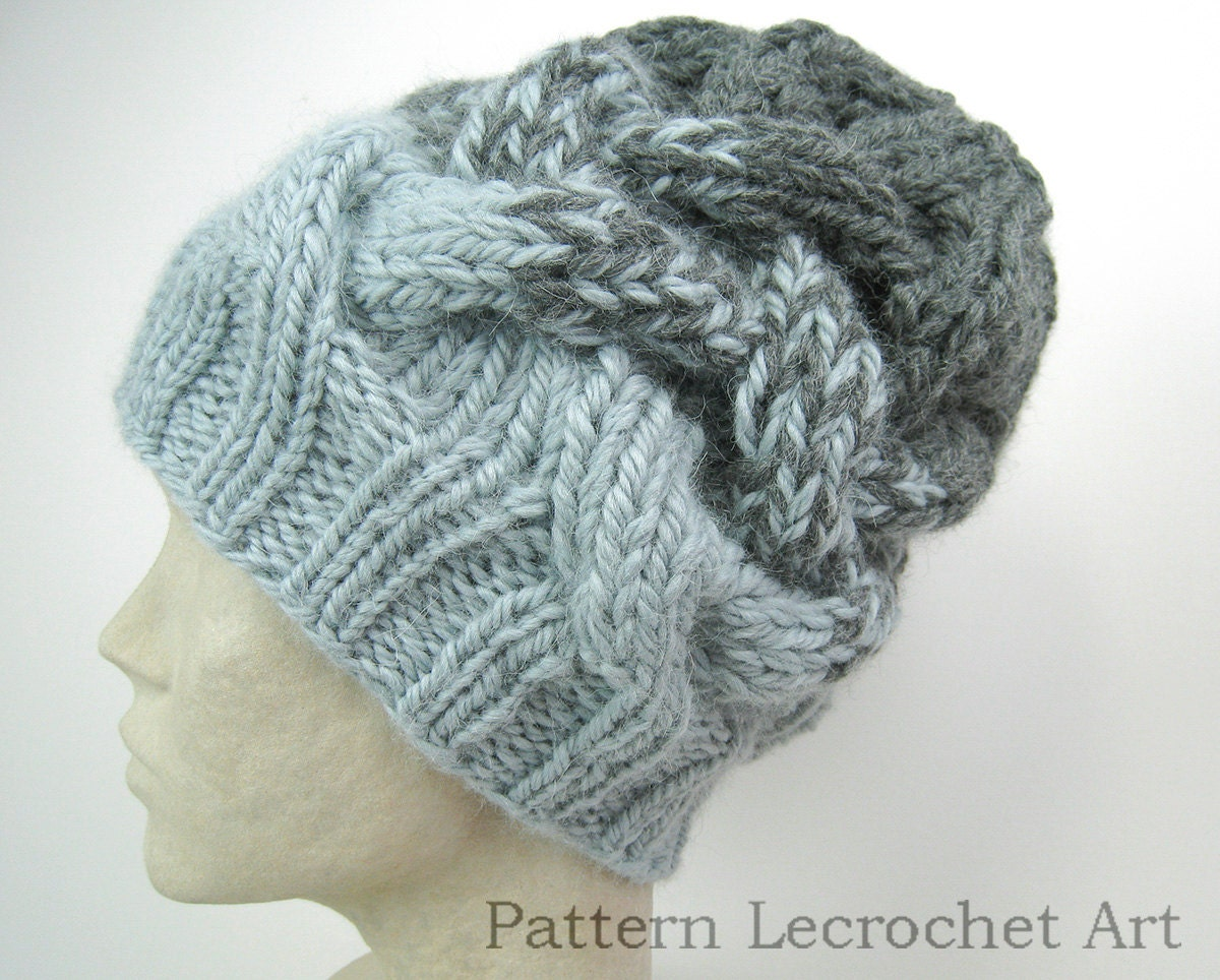 Knitting pattern slouchy hat with braid cable in two strands zoom bankloansurffo Choice Image