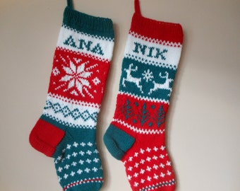 Personalized Christmas Stocking Hand Knitted SET of 2