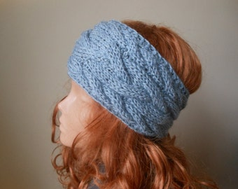 Cable Hand Knit Headband  Ear Warmer Head Warmer Gray Choose Color
