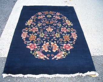 1980s Vintage, Hand-Knotted Art-Deco Style Chinese Rug (3054)